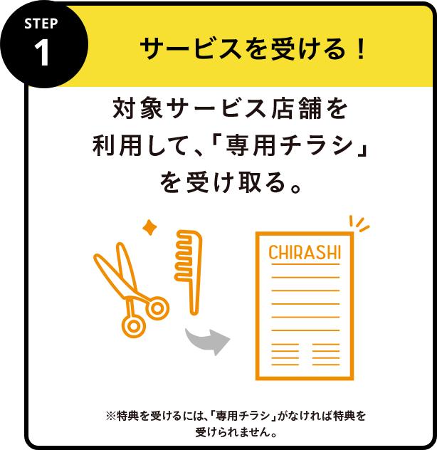 STEP1 サービスを受ける!対象サービス店舗で利用したレシートを受け取る。